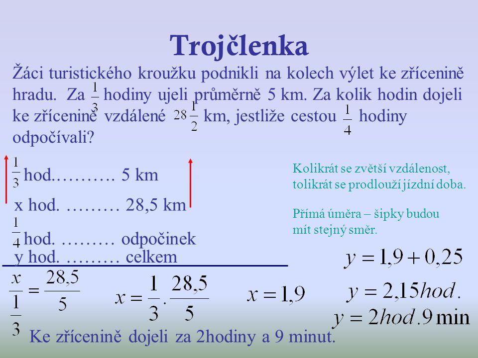 Trojčlenka hod.………. 5 km x hod. ……… 28,5 km hod. ……… odpočinek