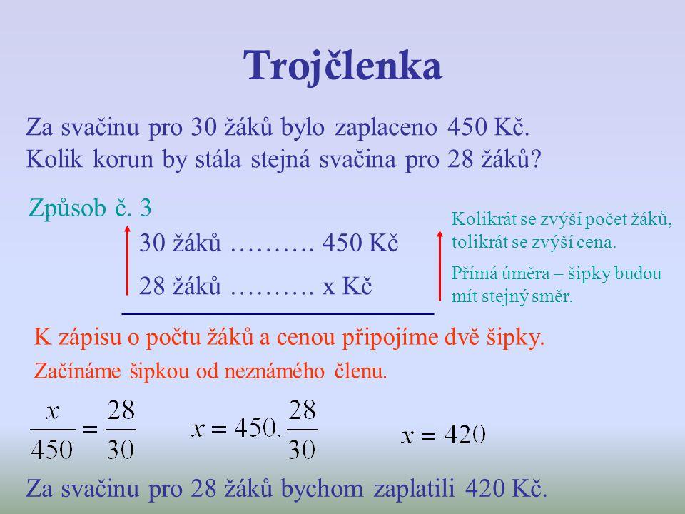 Trojčlenka Za svačinu pro 30 žáků bylo zaplaceno 450 Kč. Kolik korun by stála stejná svačina pro 28 žáků