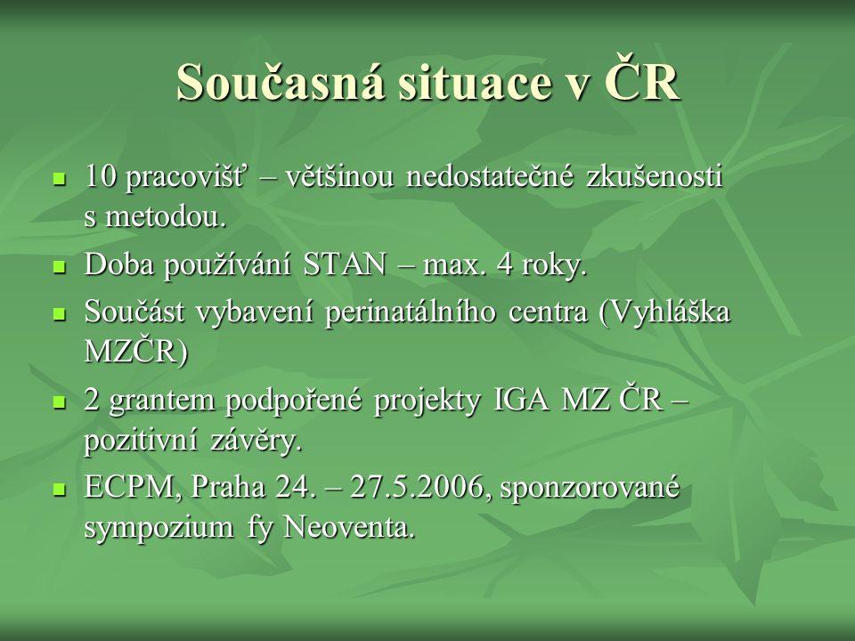 Současná situace v ČR 10 pracovišť – většinou nedostatečné zkušenosti s metodou. Doba používání STAN – max. 4 roky.