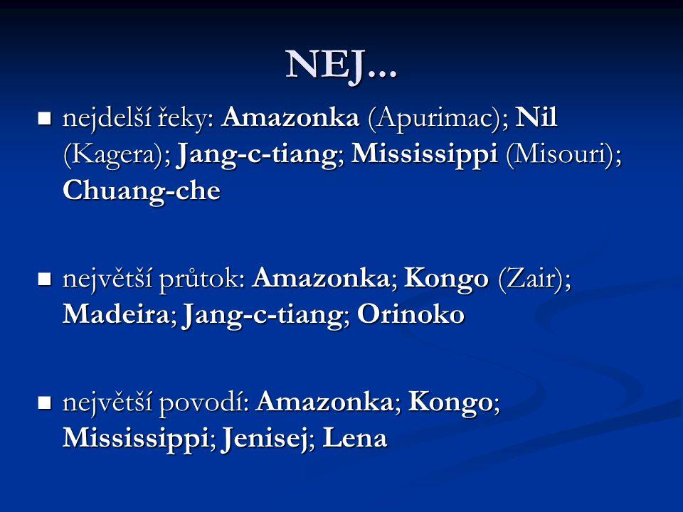 NEJ... nejdelší řeky: Amazonka (Apurimac); Nil (Kagera); Jang-c-tiang; Mississippi (Misouri); Chuang-che.