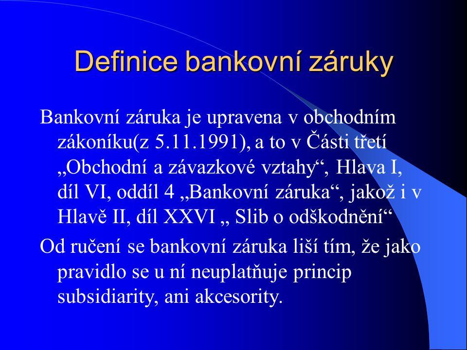 Definice bankovní záruky