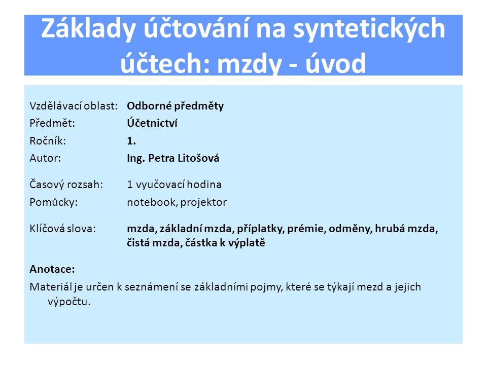 Základy účtování na syntetických účtech: mzdy - úvod