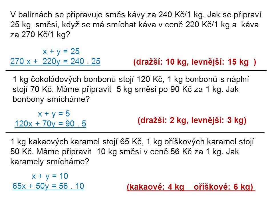 (dražší: 10 kg, levnější: 15 kg )