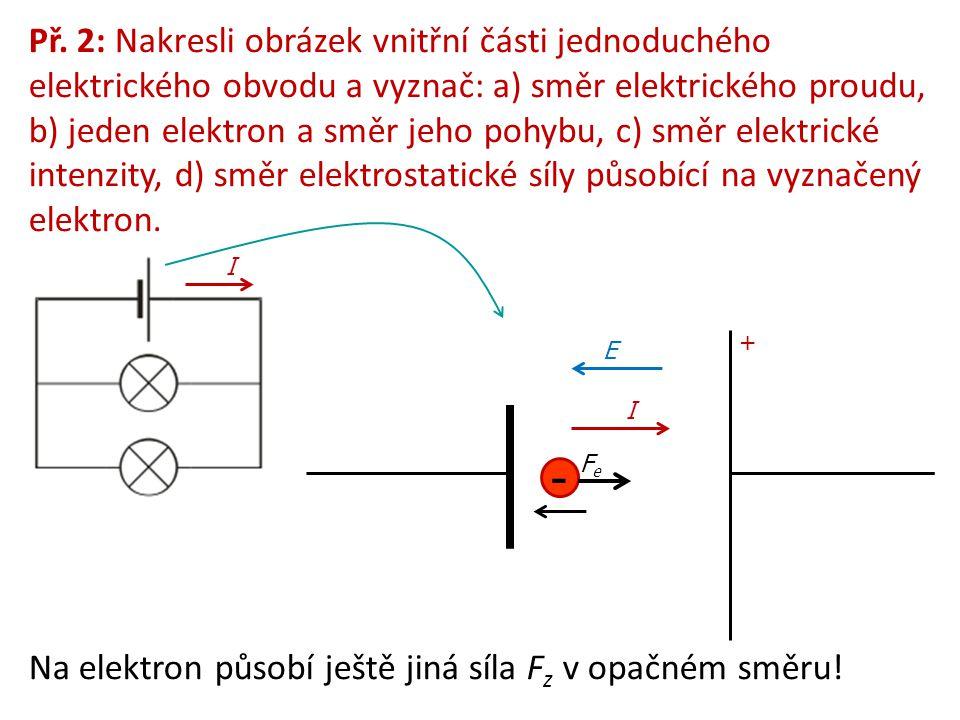 Př. 2: Nakresli obrázek vnitřní části jednoduchého elektrického obvodu a vyznač: a) směr elektrického proudu, b) jeden elektron a směr jeho pohybu, c) směr elektrické intenzity, d) směr elektrostatické síly působící na vyznačený