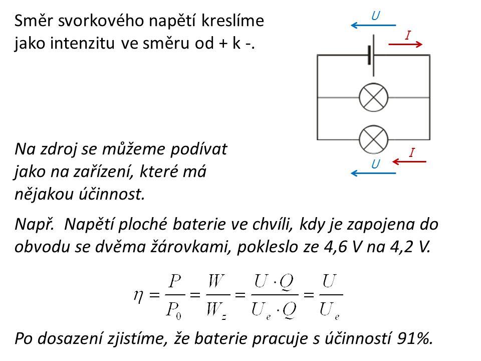 Směr svorkového napětí kreslíme jako intenzitu ve směru od + k -.