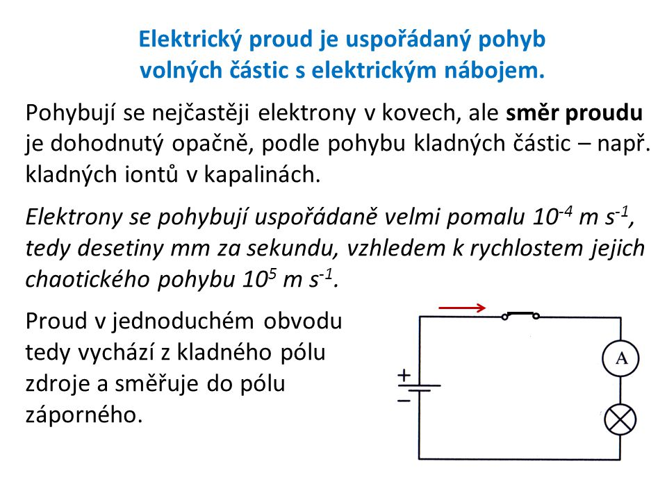 Elektrický proud je uspořádaný pohyb volných částic s elektrickým nábojem.