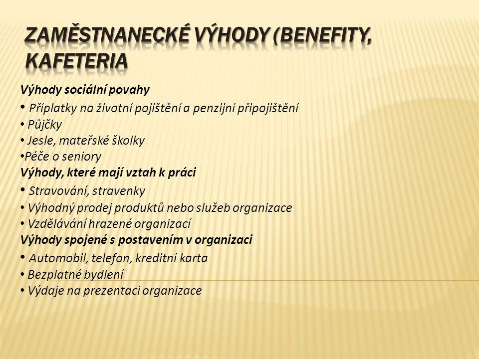 Zaměstnanecké výhody (benefity, kafeteria