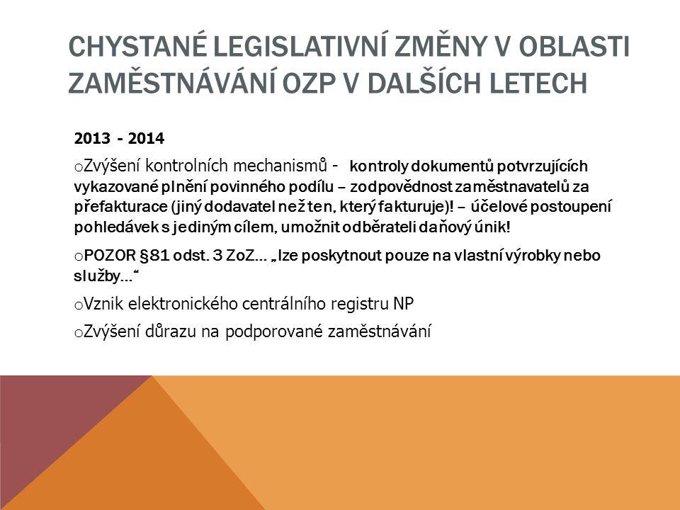 Chystané legislativní změny v oblasti zaměstnávání OZP v dalších letech