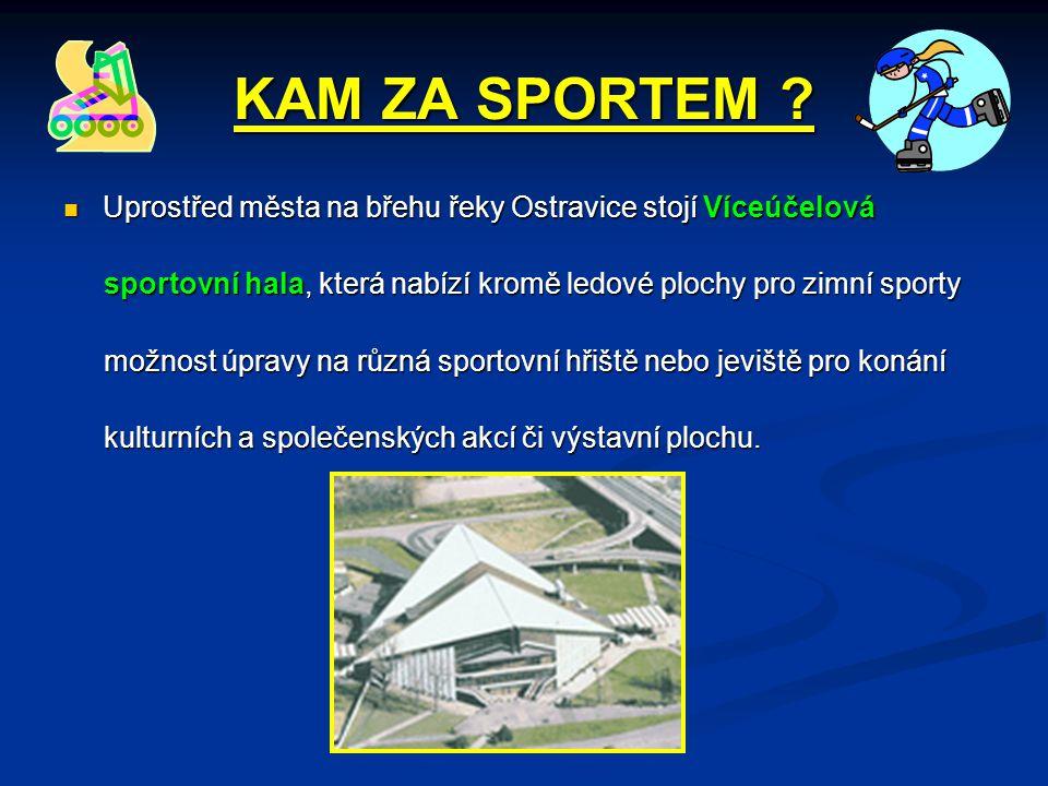 KAM ZA SPORTEM Uprostřed města na břehu řeky Ostravice stojí Víceúčelová. sportovní hala, která nabízí kromě ledové plochy pro zimní sporty.