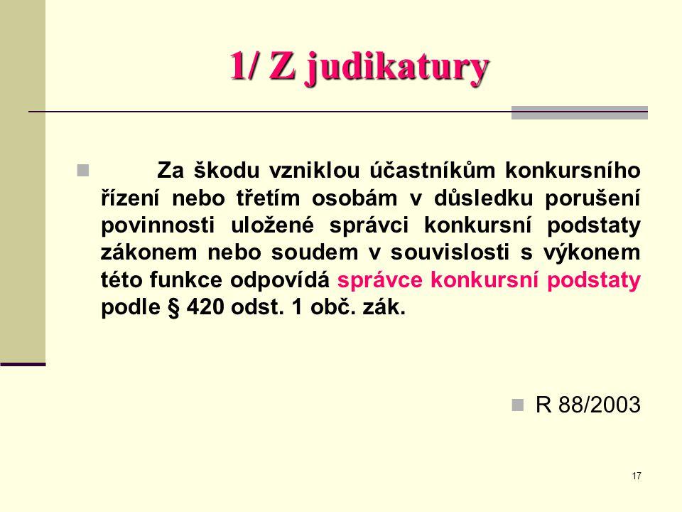 1/ Z judikatury