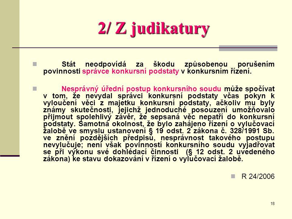 2/ Z judikatury Stát neodpovídá za škodu způsobenou porušením povinnosti správce konkursní podstaty v konkursním řízení.