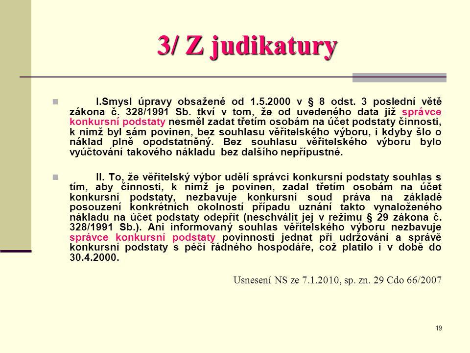3/ Z judikatury