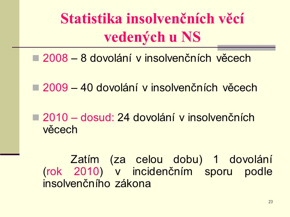 Statistika insolvenčních věcí vedených u NS