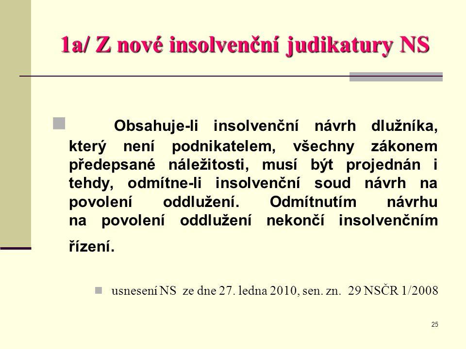 1a/ Z nové insolvenční judikatury NS