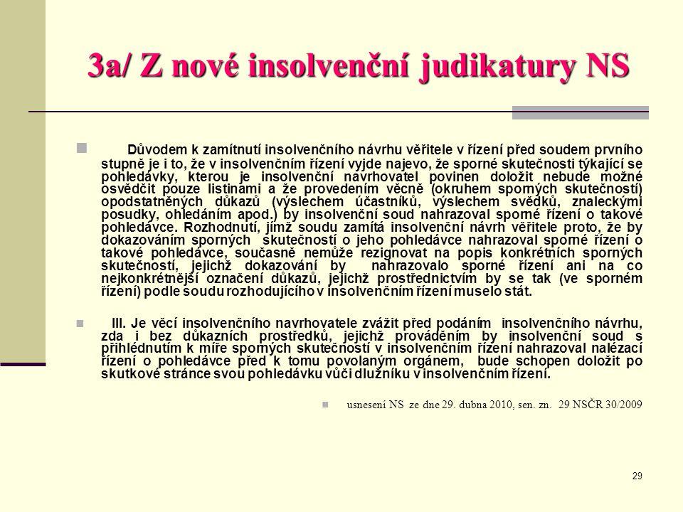 3a/ Z nové insolvenční judikatury NS