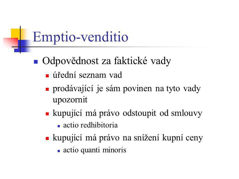 Emptio-venditio Odpovědnost za faktické vady úřední seznam vad