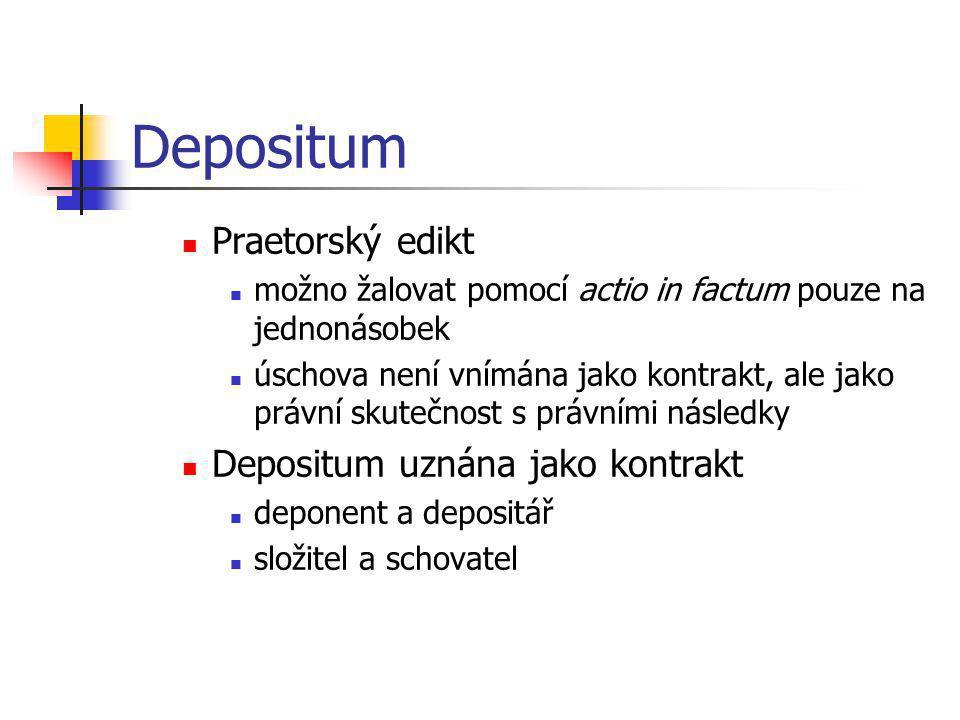 Depositum Praetorský edikt Depositum uznána jako kontrakt