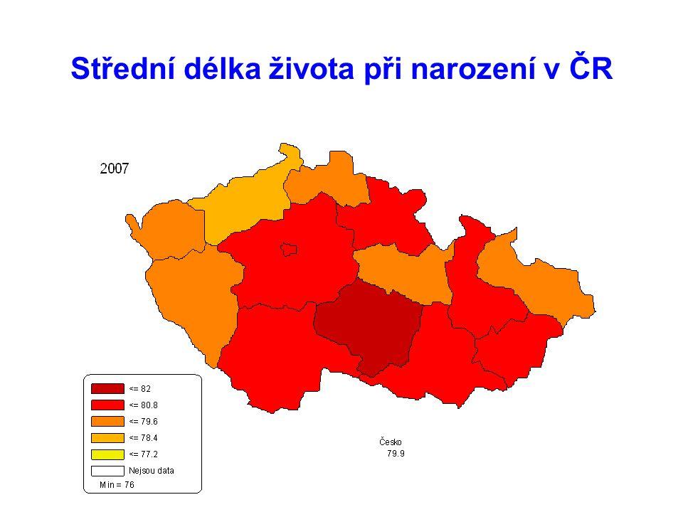 Střední délka života při narození v ČR