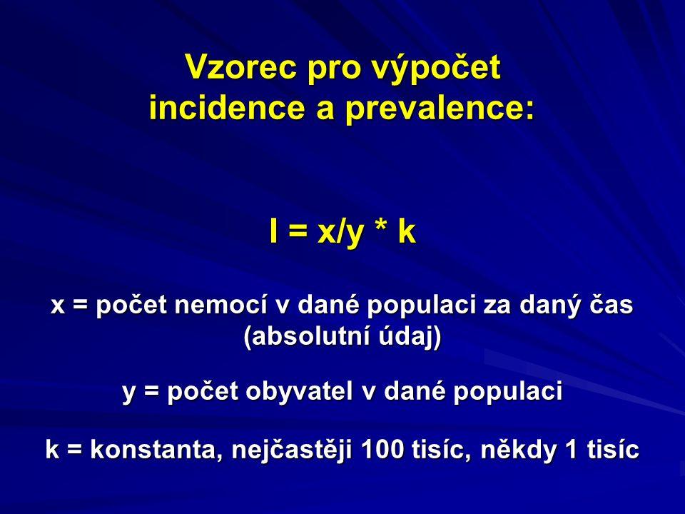 Vzorec pro výpočet incidence a prevalence: I = x/y