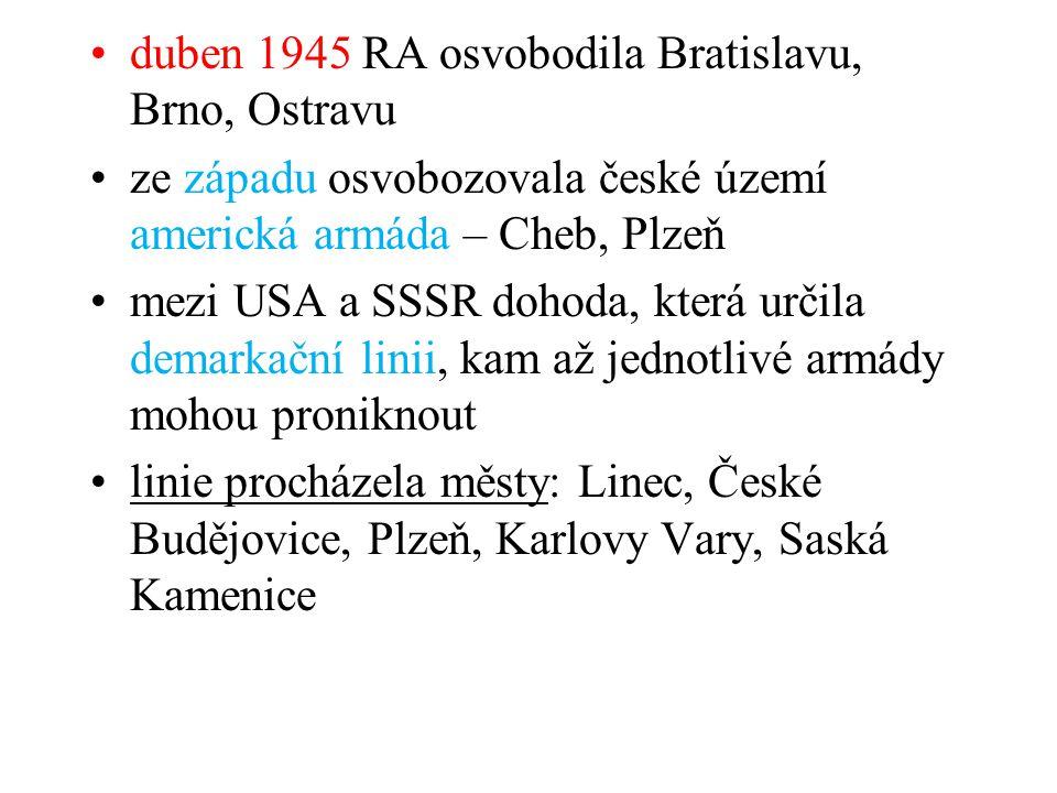 duben 1945 RA osvobodila Bratislavu, Brno, Ostravu