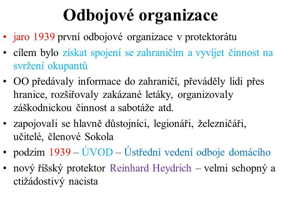 Odbojové organizace jaro 1939 první odbojové organizace v protektorátu