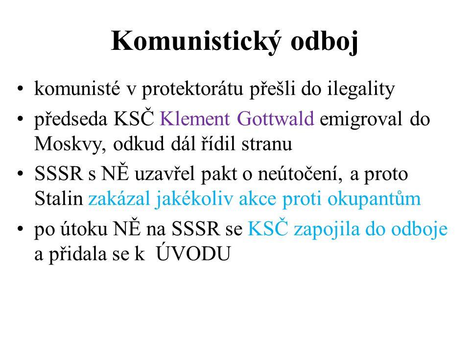 Komunistický odboj komunisté v protektorátu přešli do ilegality