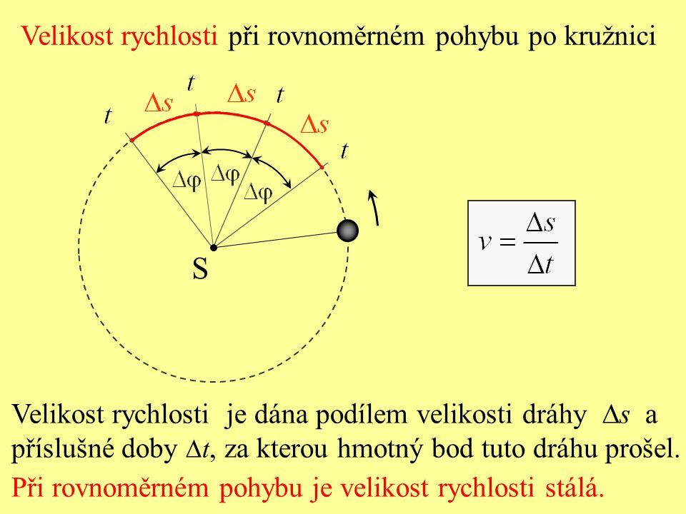 S Velikost rychlosti při rovnoměrném pohybu po kružnici
