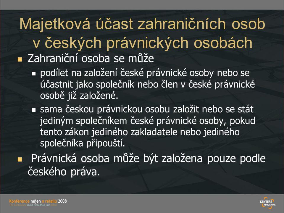 Majetková účast zahraničních osob v českých právnických osobách