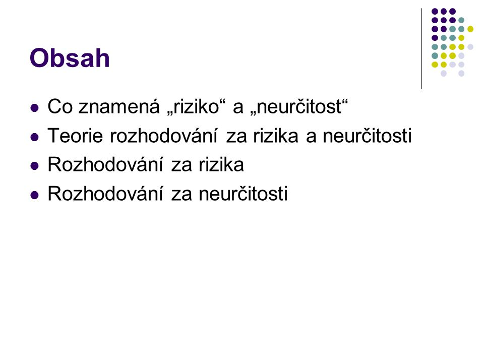 """Obsah Co znamená """"riziko a """"neurčitost"""