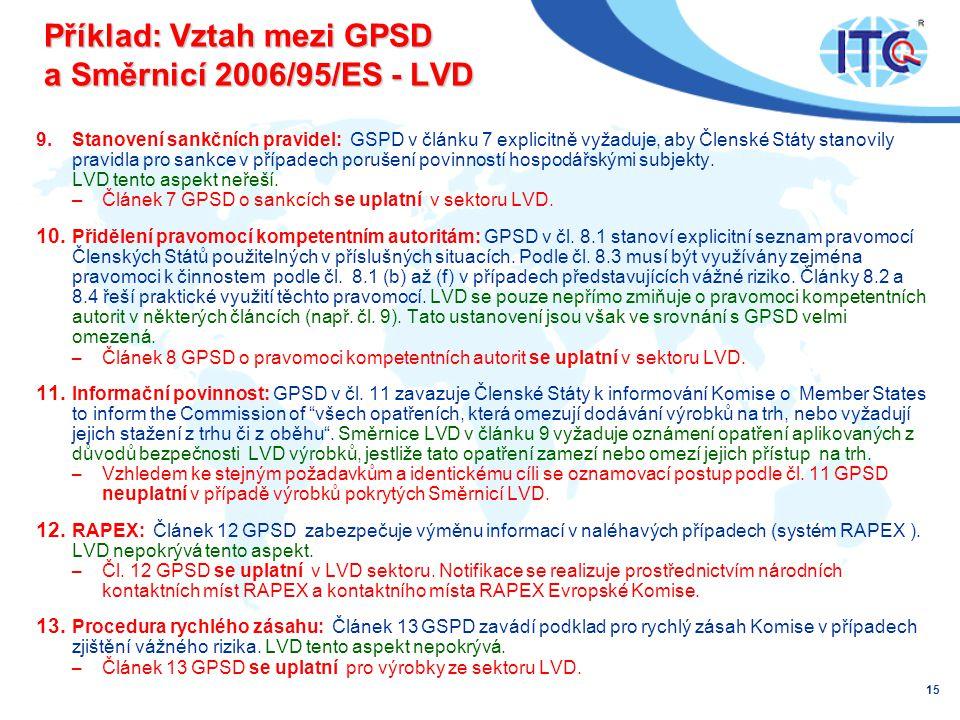 Příklad: Vztah mezi GPSD a Směrnicí 2006/95/ES - LVD