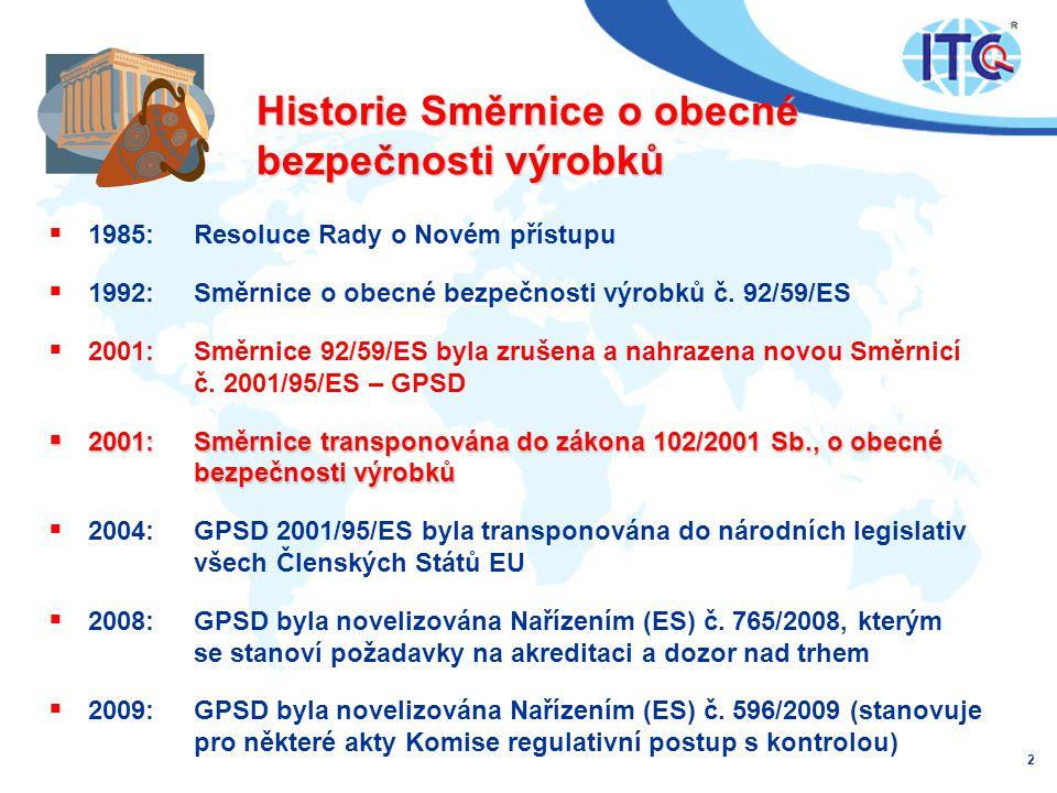 Historie Směrnice o obecné bezpečnosti výrobků