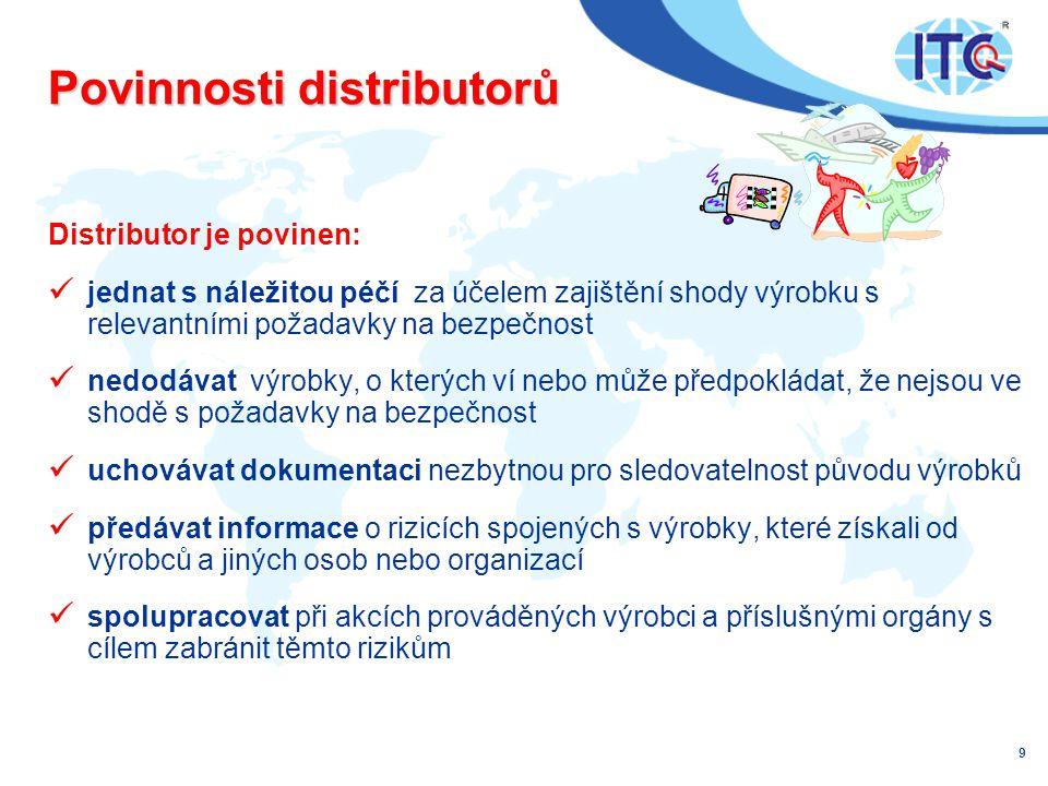 Povinnosti distributorů