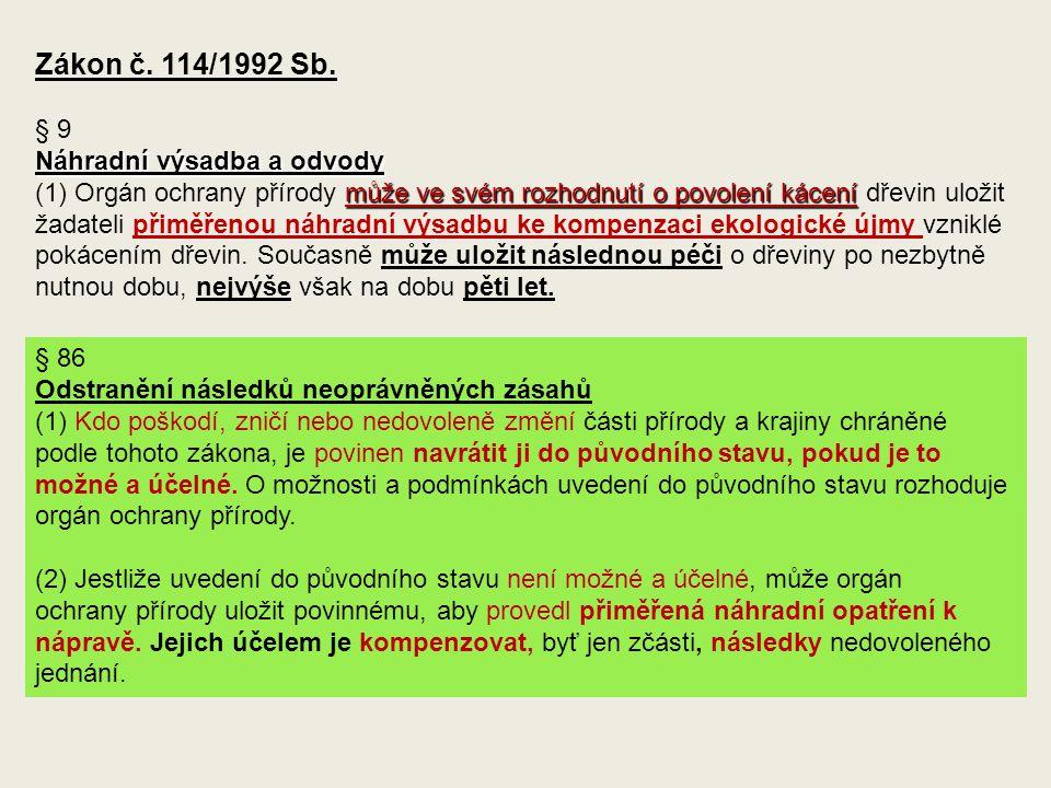 Zákon č. 114/1992 Sb. § 9 Náhradní výsadba a odvody