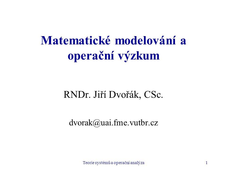 Matematické modelování a operační výzkum