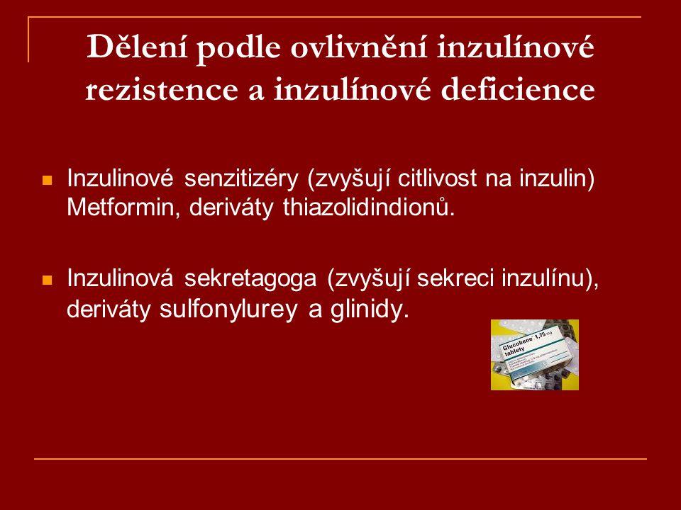 Dělení podle ovlivnění inzulínové rezistence a inzulínové deficience