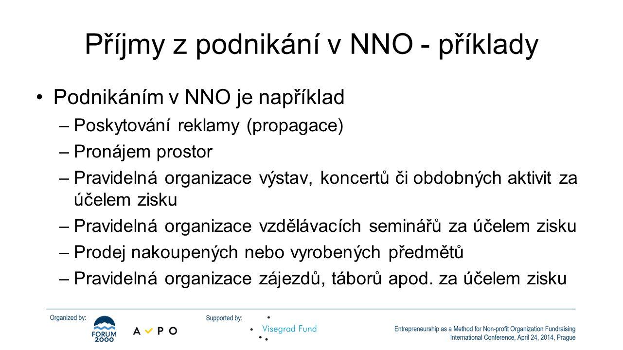 Příjmy z podnikání v NNO - příklady