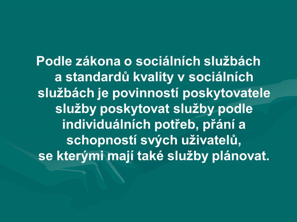 Podle zákona o sociálních službách a standardů kvality v sociálních službách je povinností poskytovatele služby poskytovat služby podle individuálních potřeb, přání a schopností svých uživatelů, se kterými mají také služby plánovat.