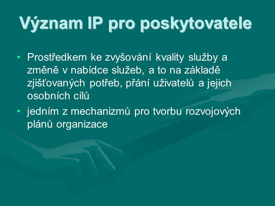 Význam IP pro poskytovatele