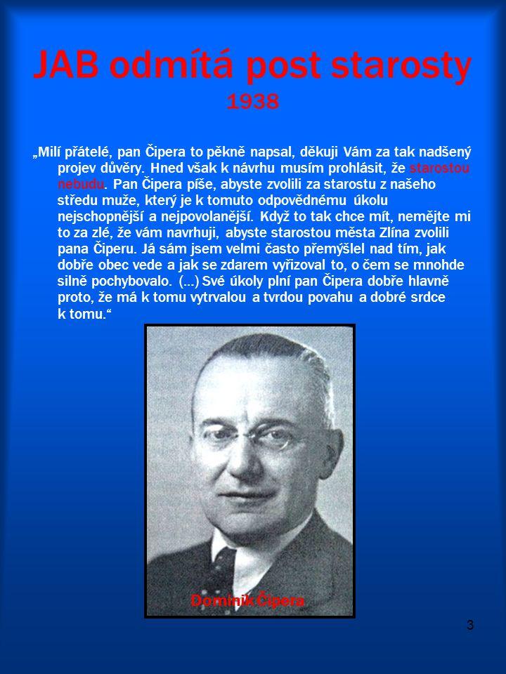 JAB odmítá post starosty 1938