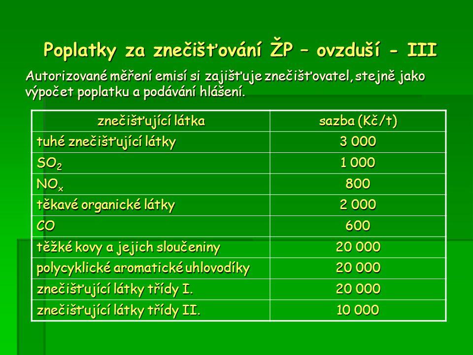 Poplatky za znečišťování ŽP – ovzduší - III