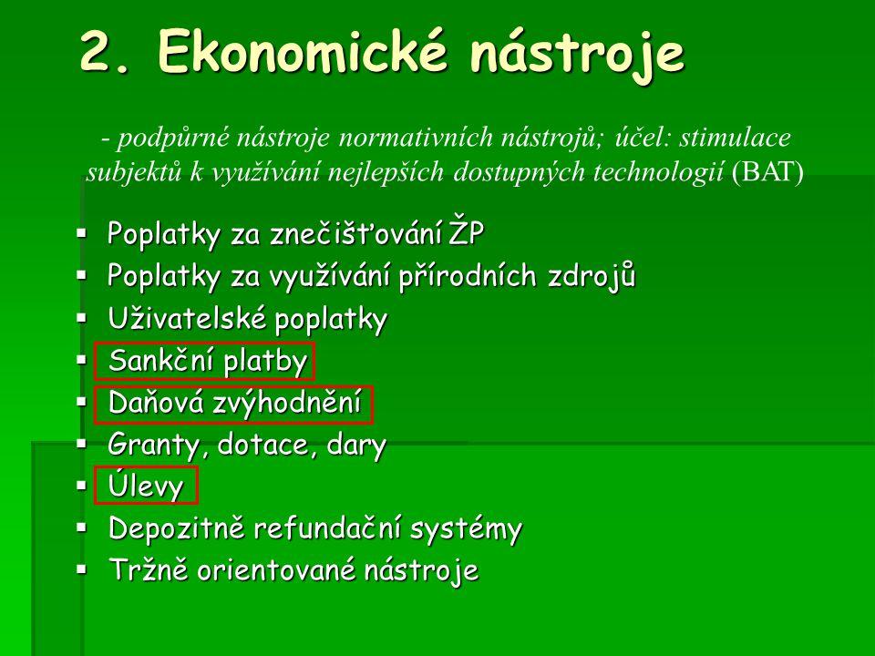 2. Ekonomické nástroje - podpůrné nástroje normativních nástrojů; účel: stimulace. subjektů k využívání nejlepších dostupných technologií (BAT)