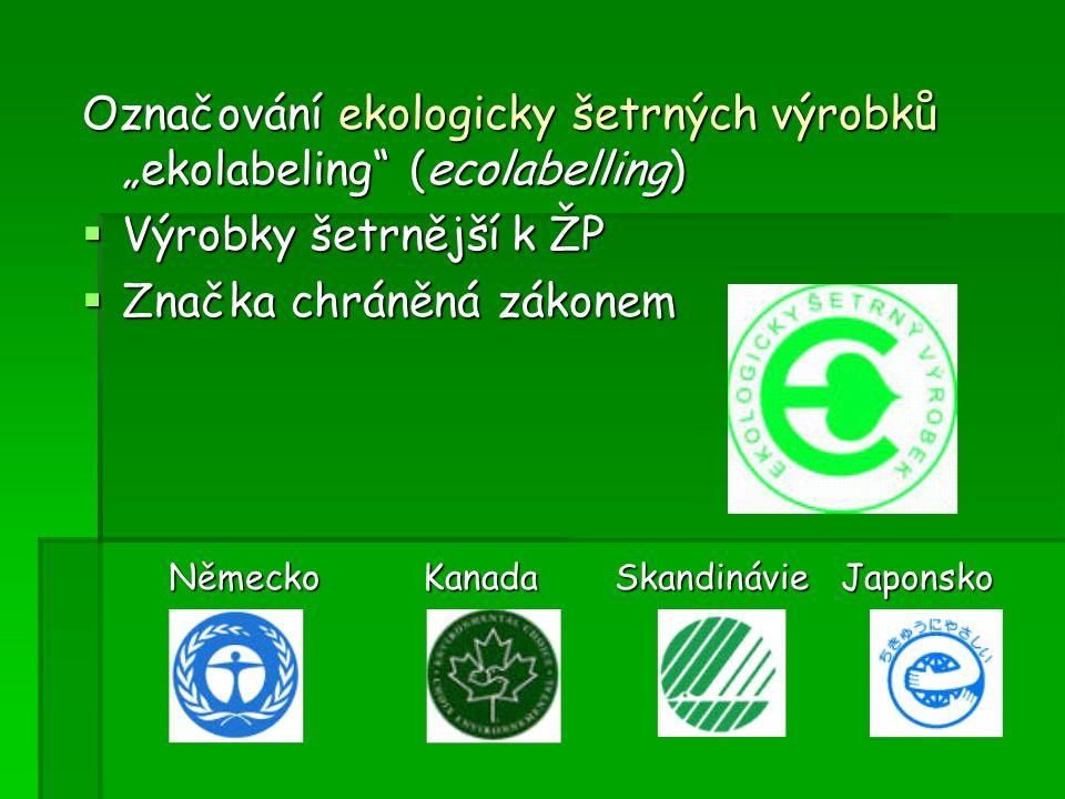 """Označování ekologicky šetrných výrobků """"ekolabeling (ecolabelling)"""