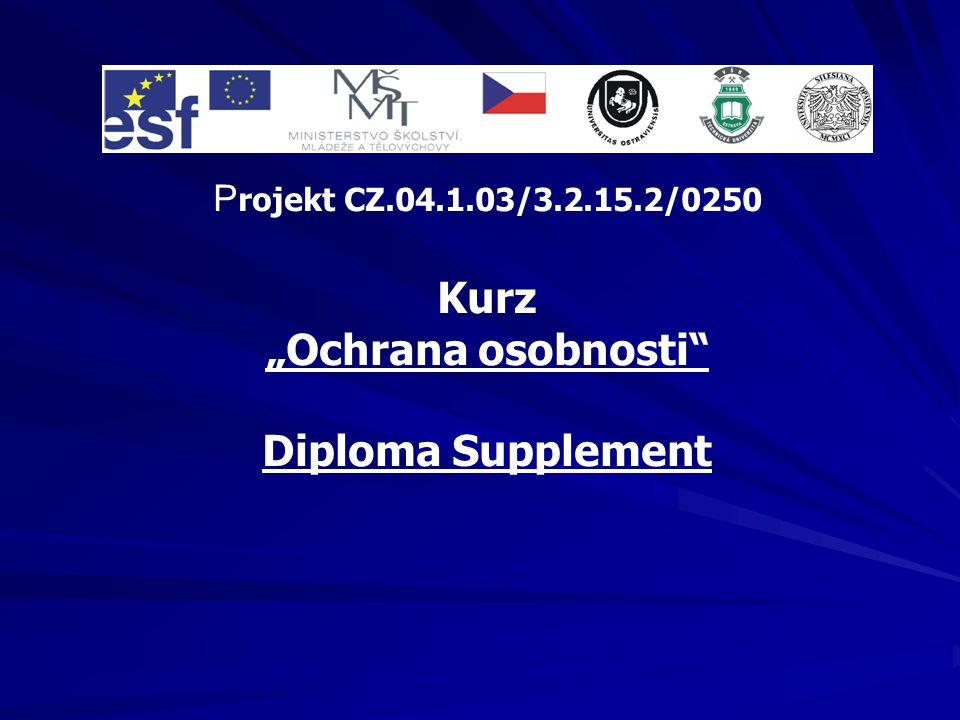 "Kurz ""Ochrana osobnosti Diploma Supplement"