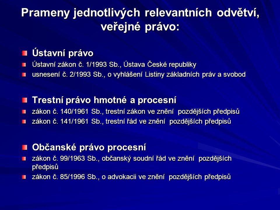 Prameny jednotlivých relevantních odvětví, veřejné právo: