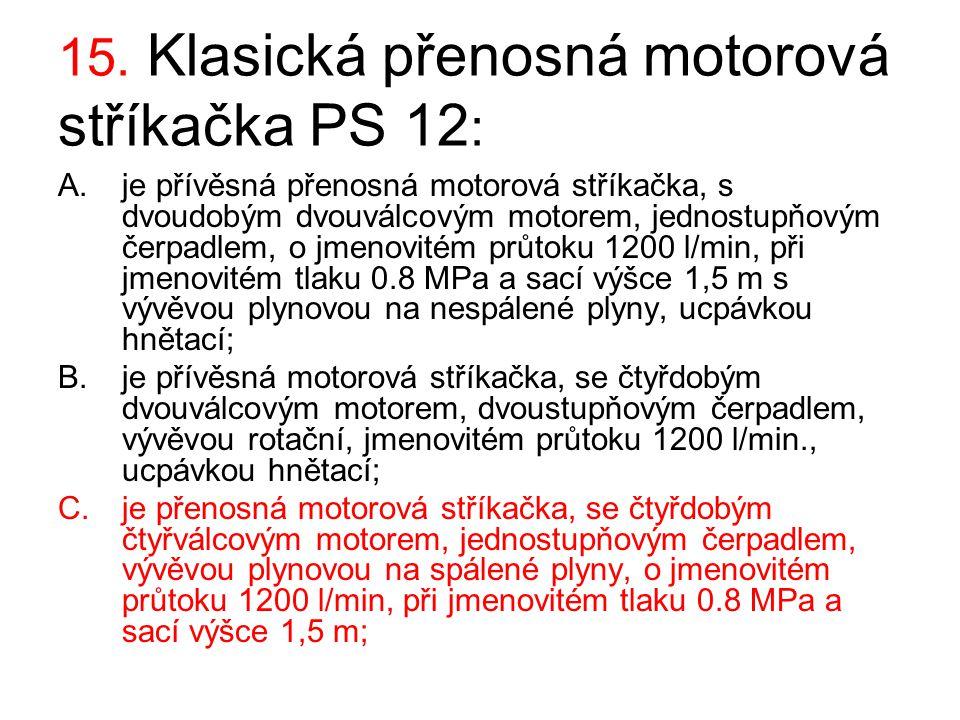 15. Klasická přenosná motorová stříkačka PS 12: