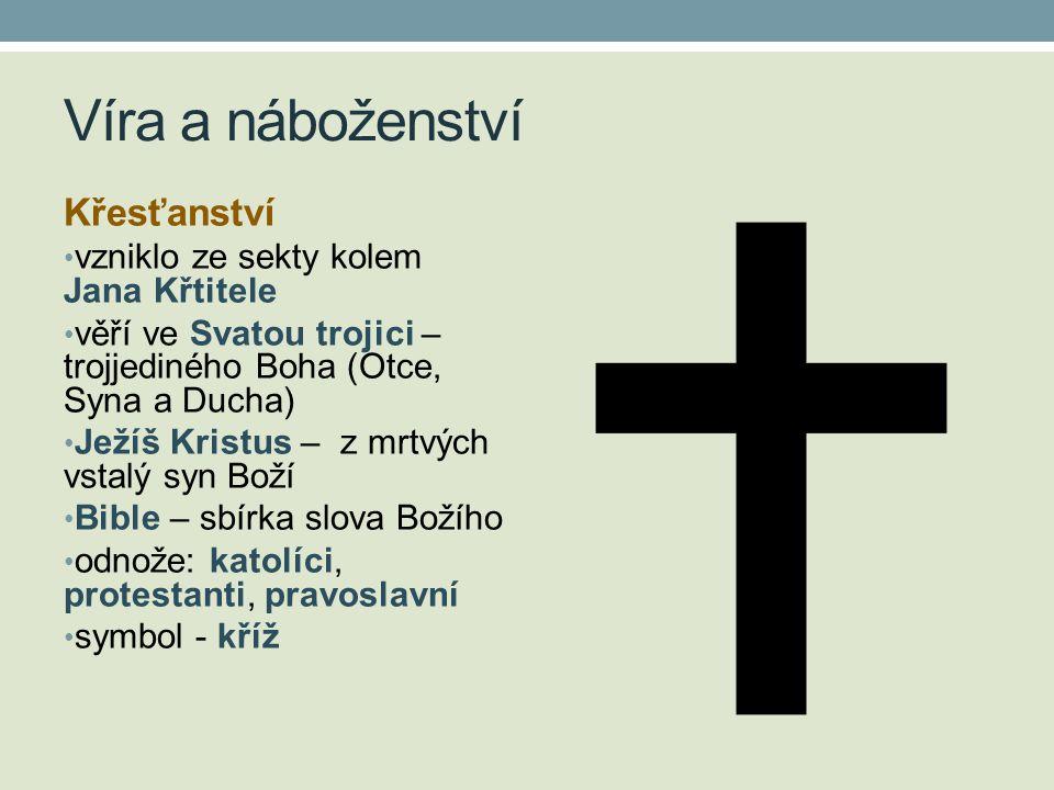 Víra a náboženství Křesťanství vzniklo ze sekty kolem Jana Křtitele