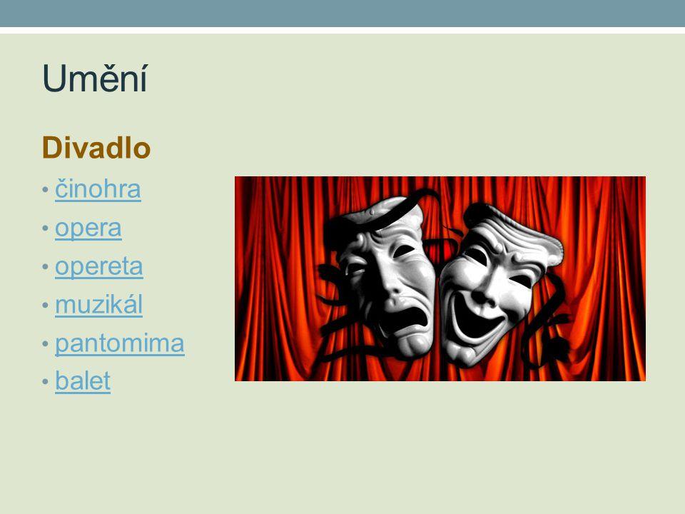 Umění Divadlo činohra opera opereta muzikál pantomima balet