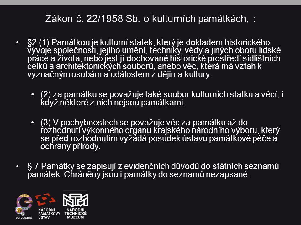 Zákon č. 22/1958 Sb. o kulturních památkách, :