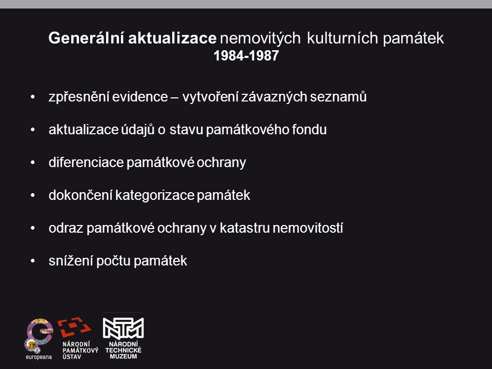 Generální aktualizace nemovitých kulturních památek 1984-1987