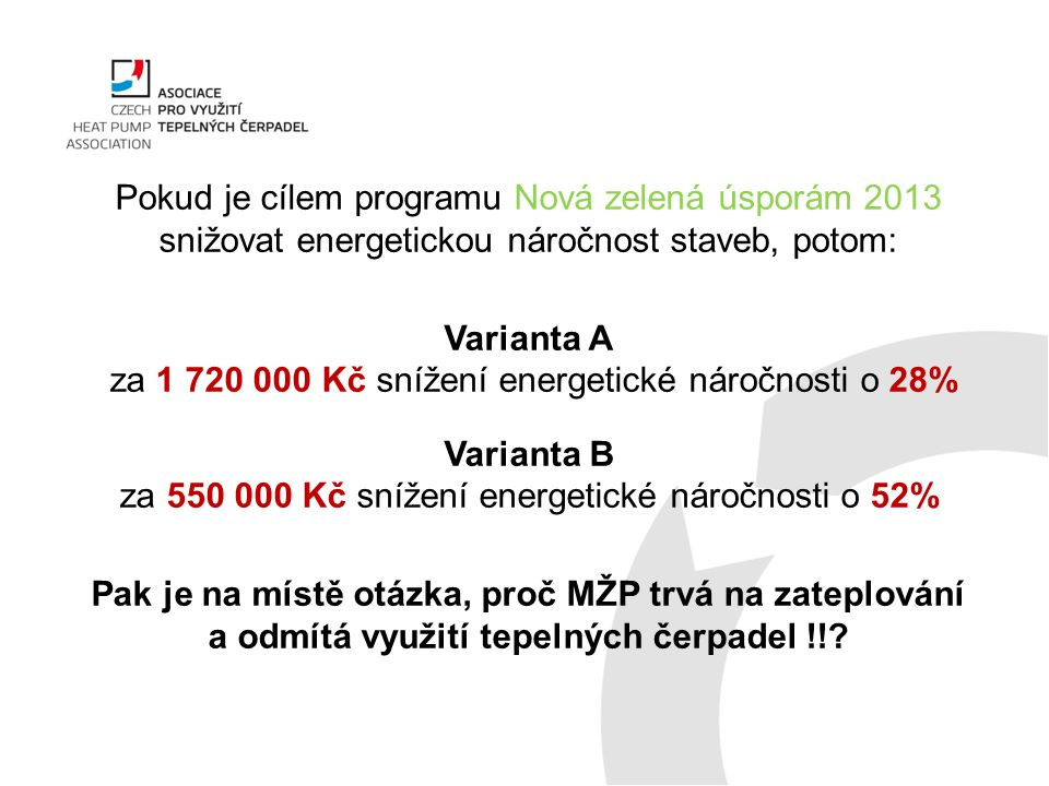 Varianta A za 1 720 000 Kč snížení energetické náročnosti o 28%